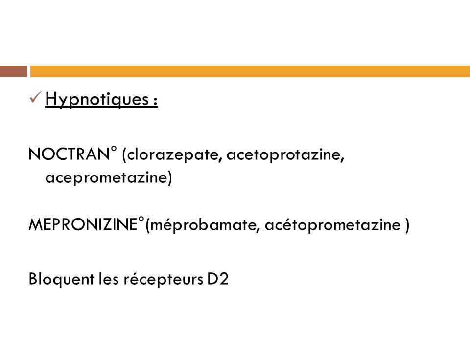 Hypnotiques : NOCTRAN° (clorazepate, acetoprotazine, aceprometazine)