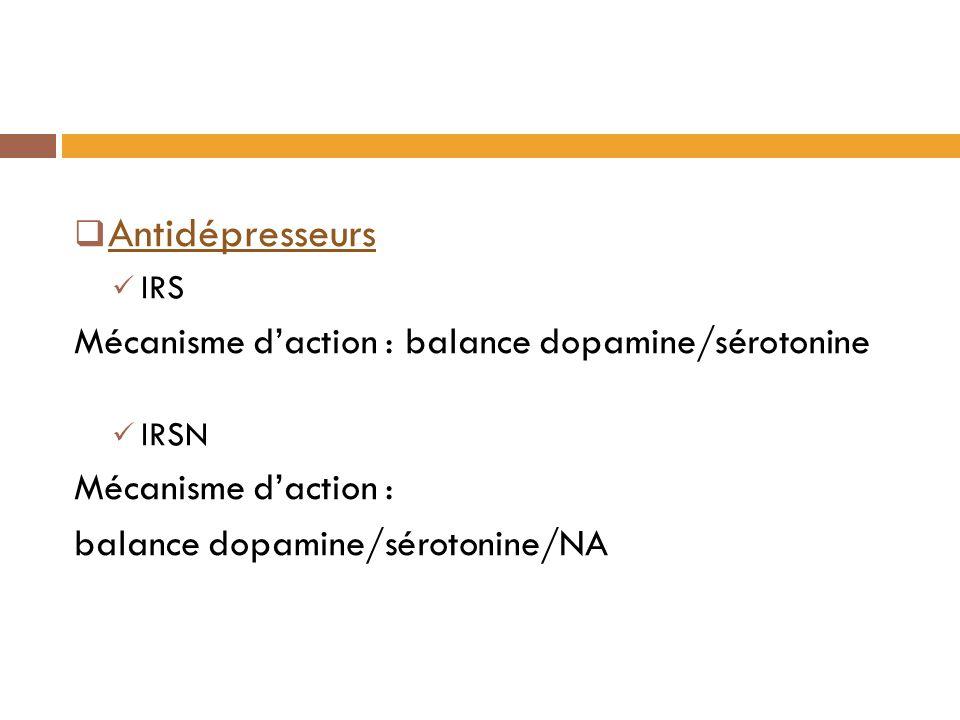 Antidépresseurs Mécanisme d'action : balance dopamine/sérotonine