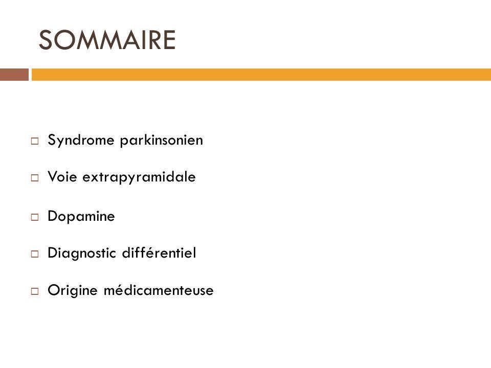 SOMMAIRE Syndrome parkinsonien Voie extrapyramidale Dopamine