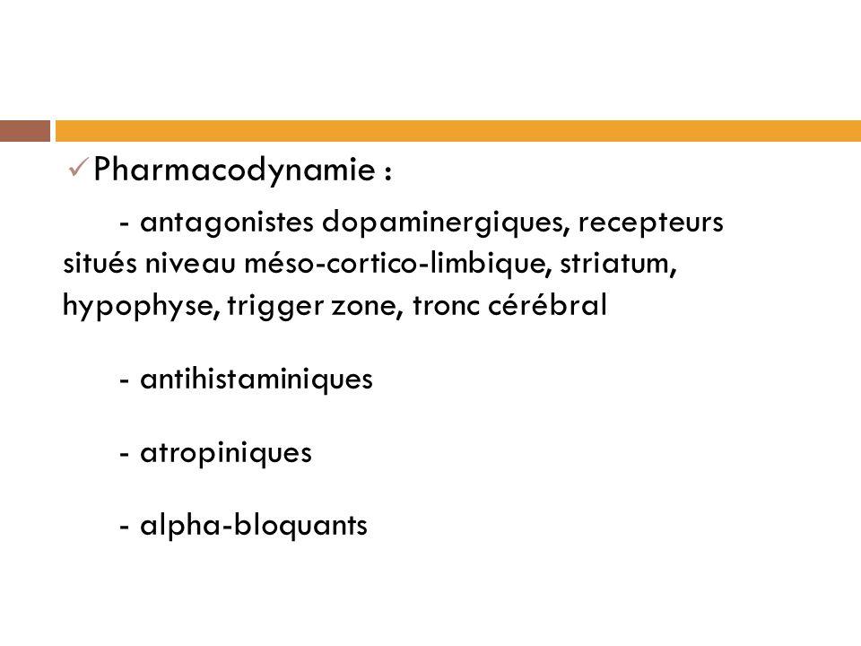 Pharmacodynamie : - antagonistes dopaminergiques, recepteurs situés niveau méso-cortico-limbique, striatum, hypophyse, trigger zone, tronc cérébral.