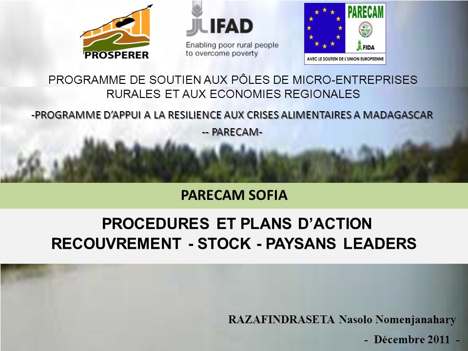 PROCEDURES ET PLANS D'ACTION RECOUVREMENT - STOCK - PAYSANS LEADERS