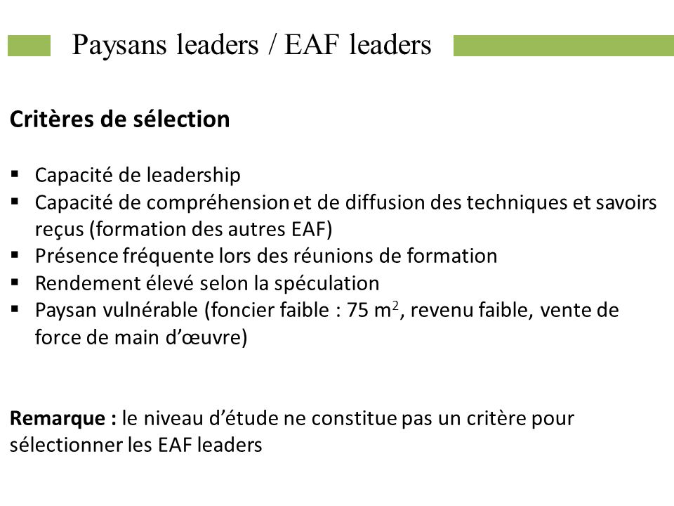 Paysans leaders / EAF leaders