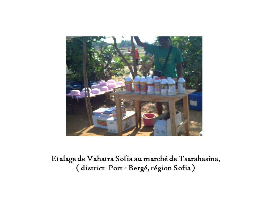 Etalage de Vahatra Sofia au marché de Tsarahasina,