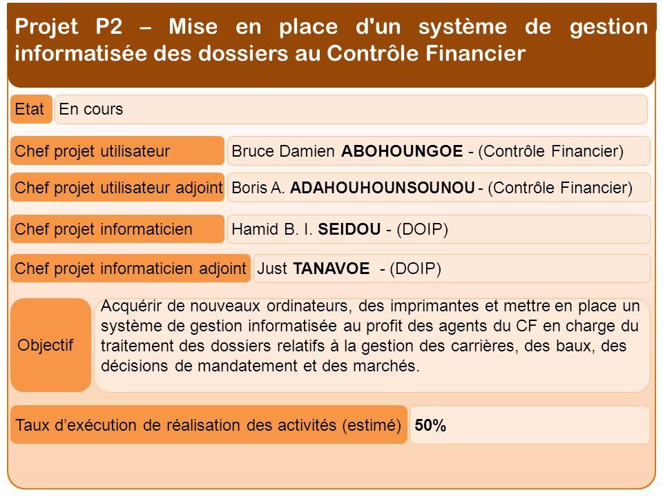Projet P2 – Mise en place d un système de gestion informatisée des dossiers au Contrôle Financier