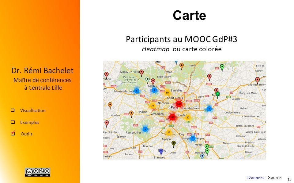 Carte Participants au MOOC GdP#3 Heatmap ou carte colorée