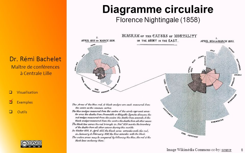 Diagramme circulaire Florence Nightingale (1858)