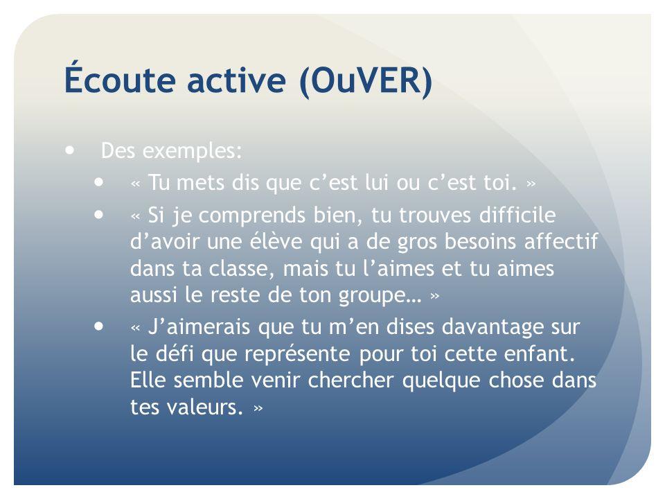 Écoute active (OuVER) Des exemples: