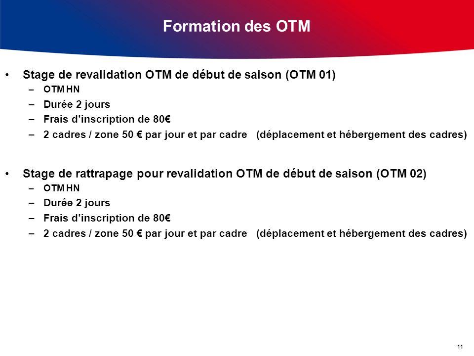 Formation des OTM Stage de revalidation OTM de début de saison (OTM 01) OTM HN. Durée 2 jours. Frais d'inscription de 80€