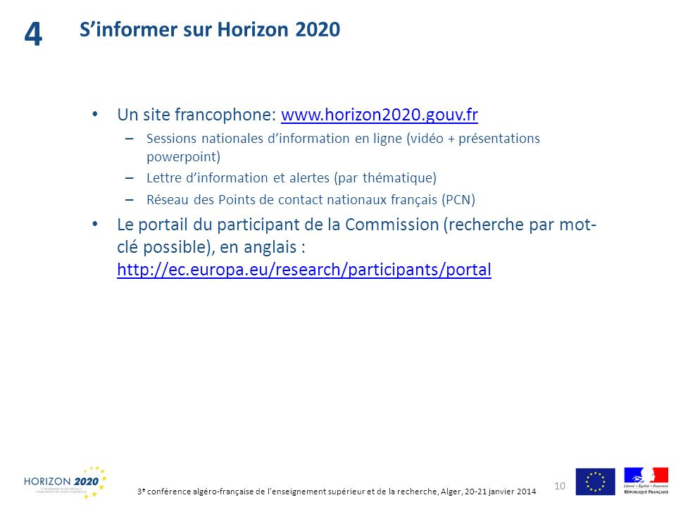 4 S'informer sur Horizon 2020