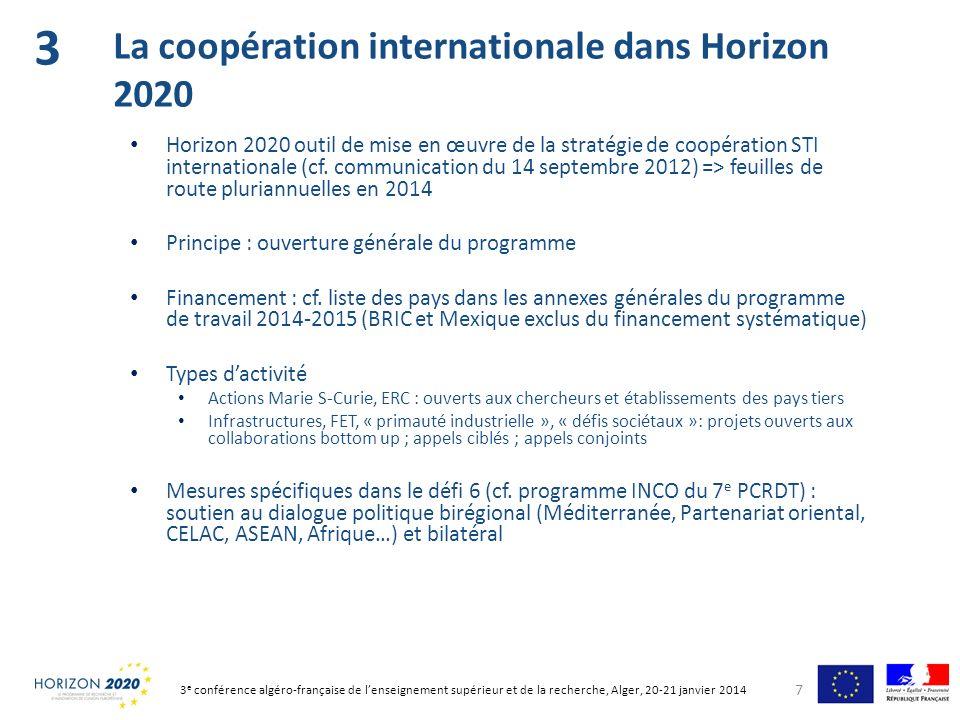 3 La coopération internationale dans Horizon 2020
