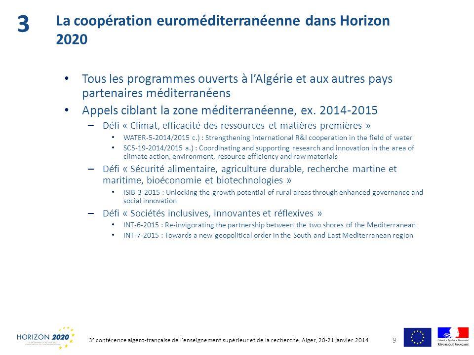 3 La coopération euroméditerranéenne dans Horizon 2020