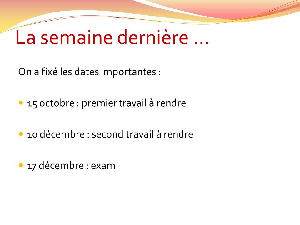 La semaine dernière … On a fixé les dates importantes :