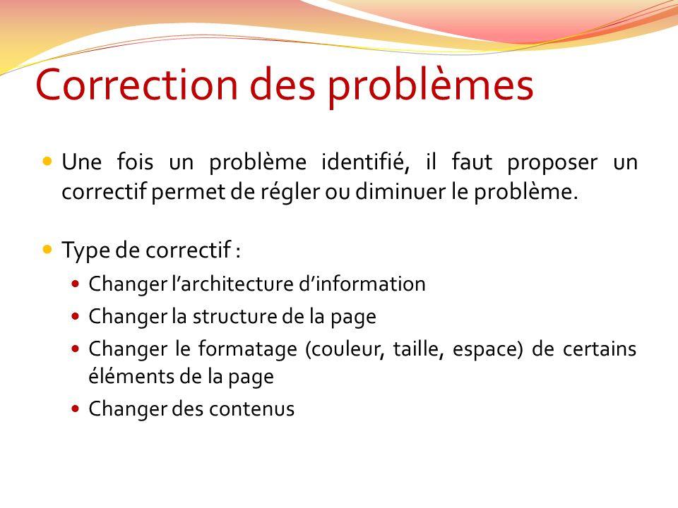 Correction des problèmes