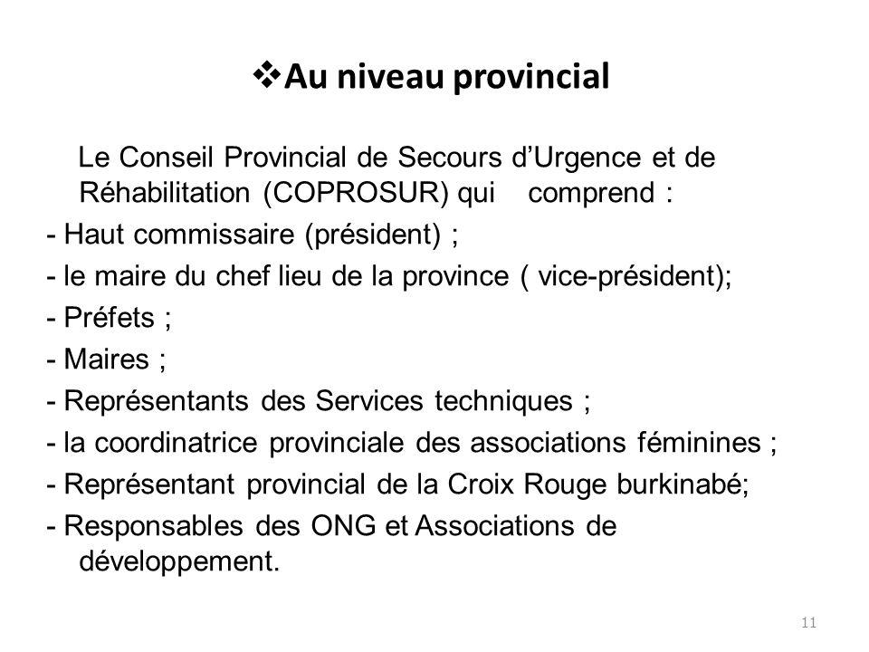 Au niveau provincial