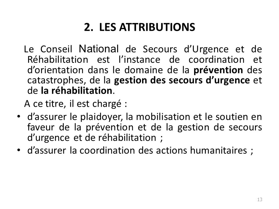 2. LES ATTRIBUTIONS