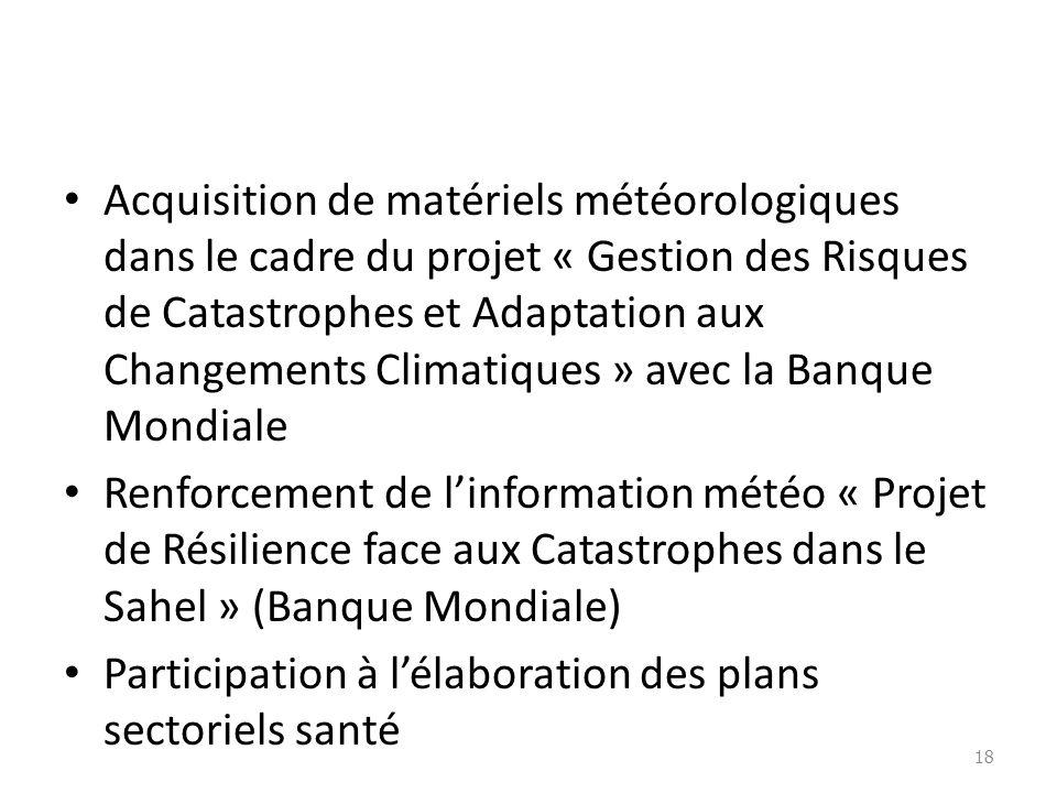 Acquisition de matériels météorologiques dans le cadre du projet « Gestion des Risques de Catastrophes et Adaptation aux Changements Climatiques » avec la Banque Mondiale