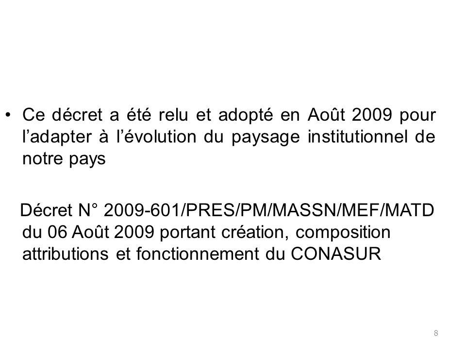 Ce décret a été relu et adopté en Août 2009 pour l'adapter à l'évolution du paysage institutionnel de notre pays