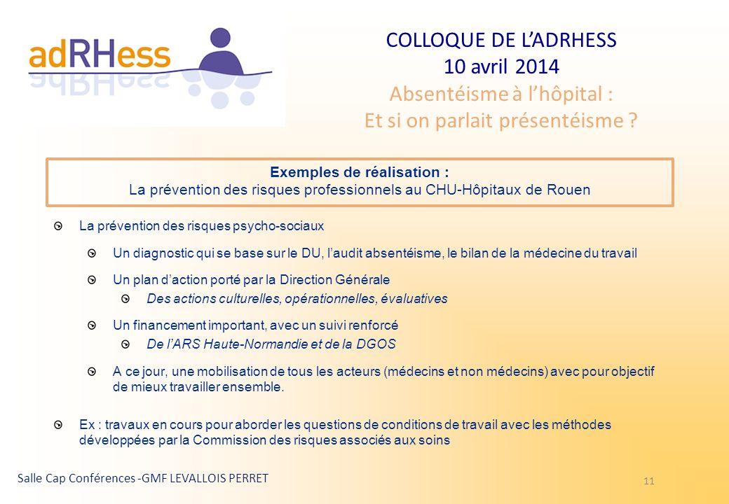 Exemples de réalisation : La prévention des risques professionnels au CHU-Hôpitaux de Rouen