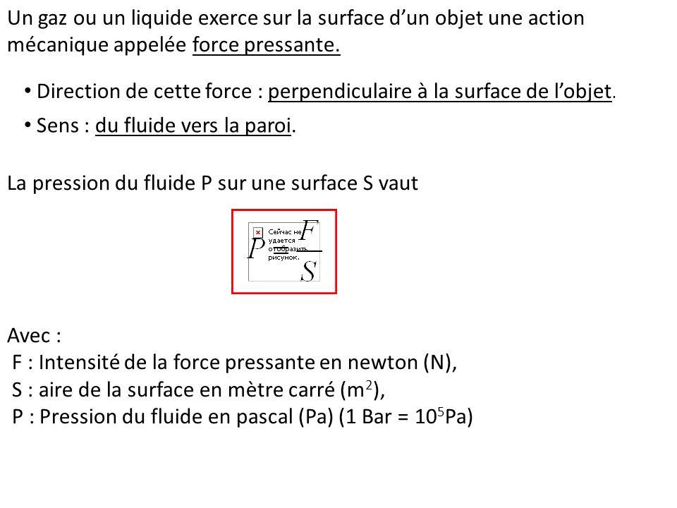 Un gaz ou un liquide exerce sur la surface d'un objet une action mécanique appelée force pressante.