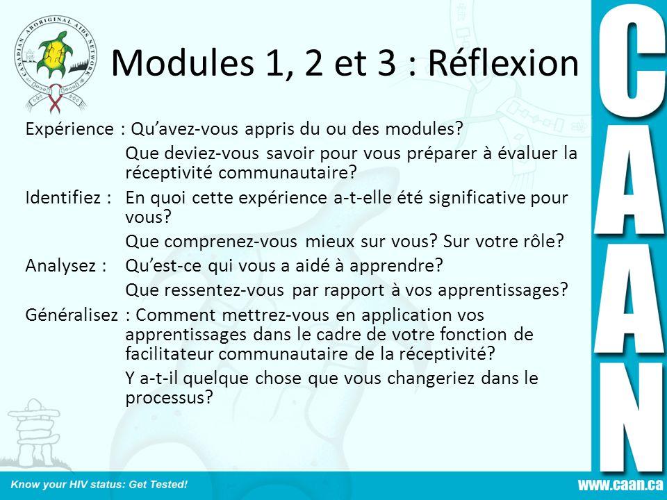 Modules 1, 2 et 3 : Réflexion