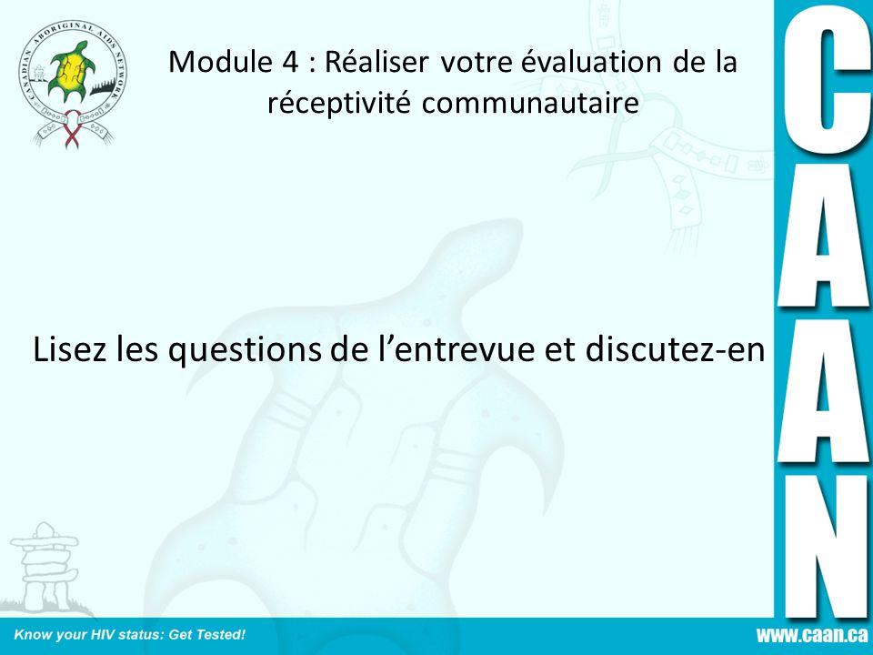 Module 4 : Réaliser votre évaluation de la réceptivité communautaire