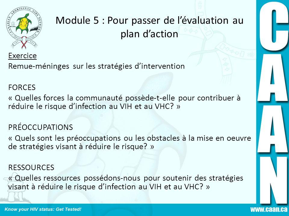 Module 5 : Pour passer de l'évaluation au plan d'action