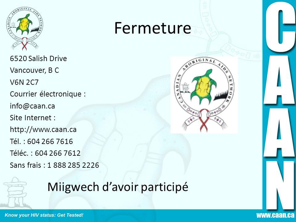 Fermeture Miigwech d'avoir participé