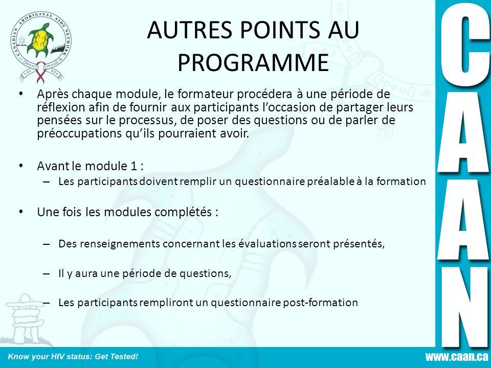 AUTRES POINTS AU PROGRAMME