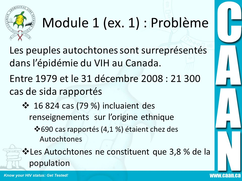 Module 1 (ex. 1) : Problème Les peuples autochtones sont surreprésentés dans l'épidémie du VIH au Canada.