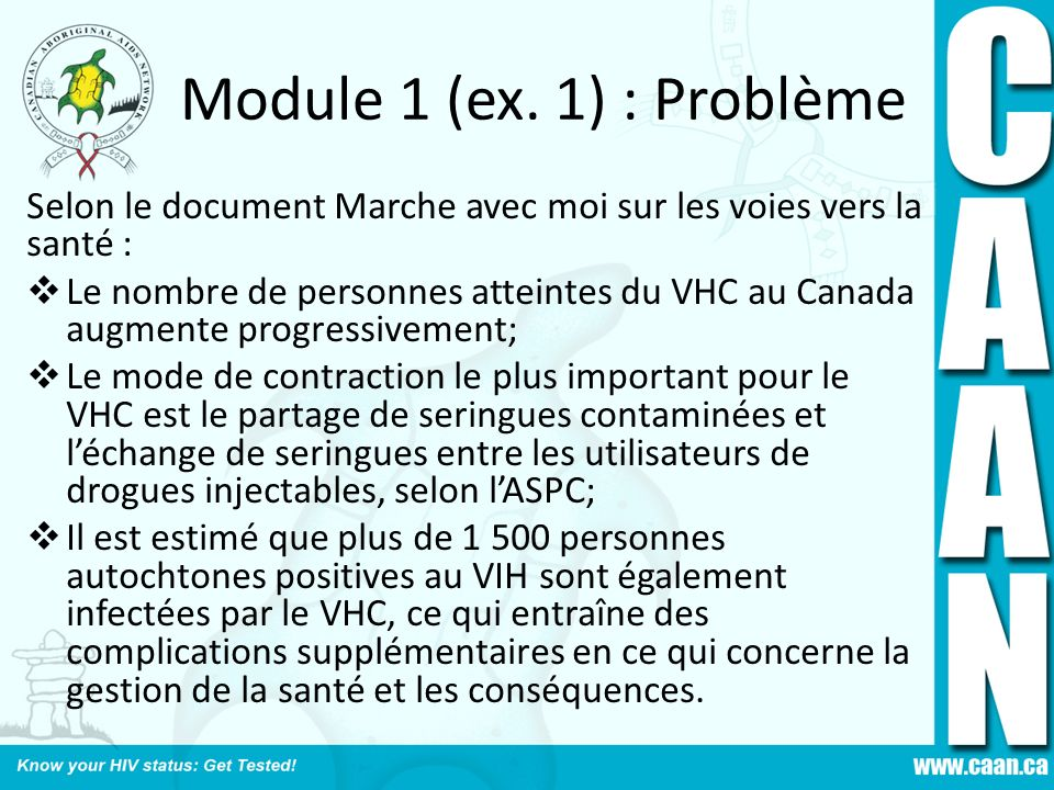Module 1 (ex. 1) : Problème Selon le document Marche avec moi sur les voies vers la santé :