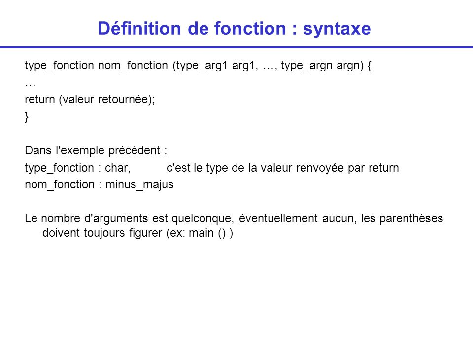 Définition de fonction : syntaxe