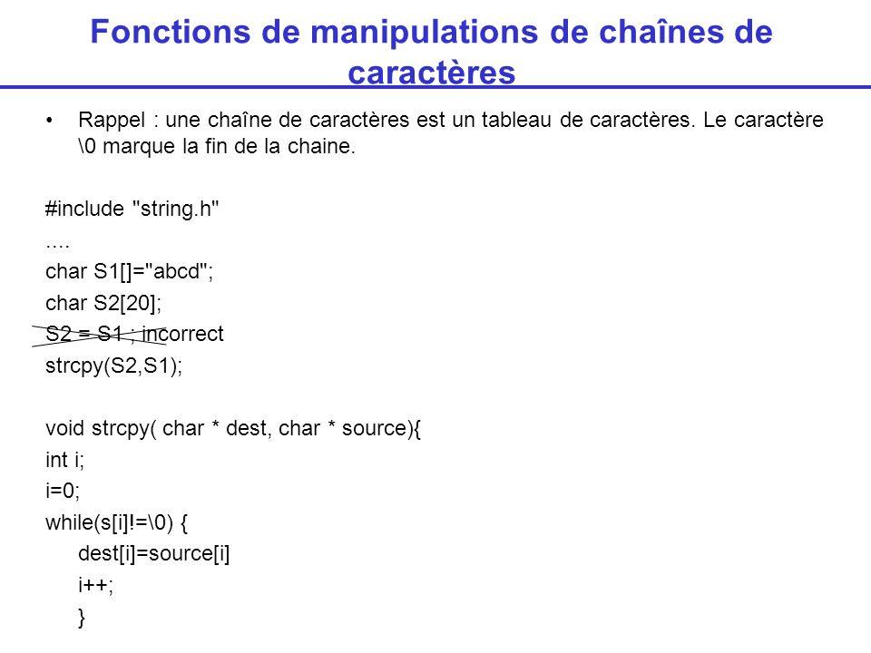 Fonctions de manipulations de chaînes de caractères