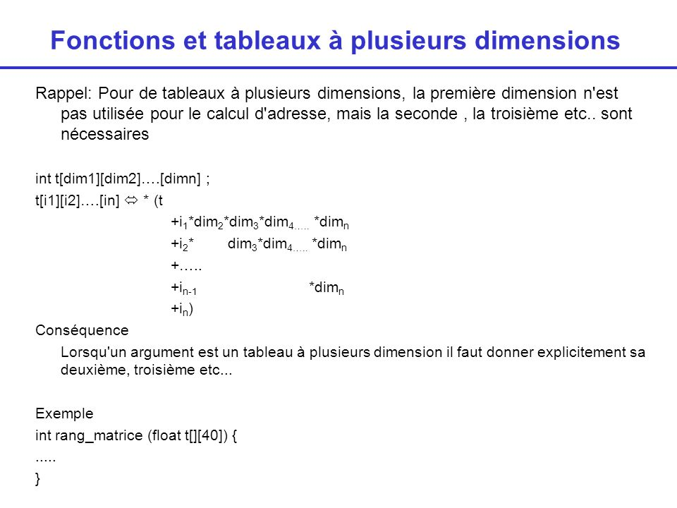 Fonctions et tableaux à plusieurs dimensions