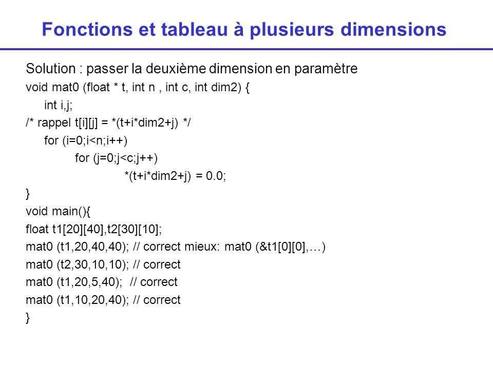 Fonctions et tableau à plusieurs dimensions