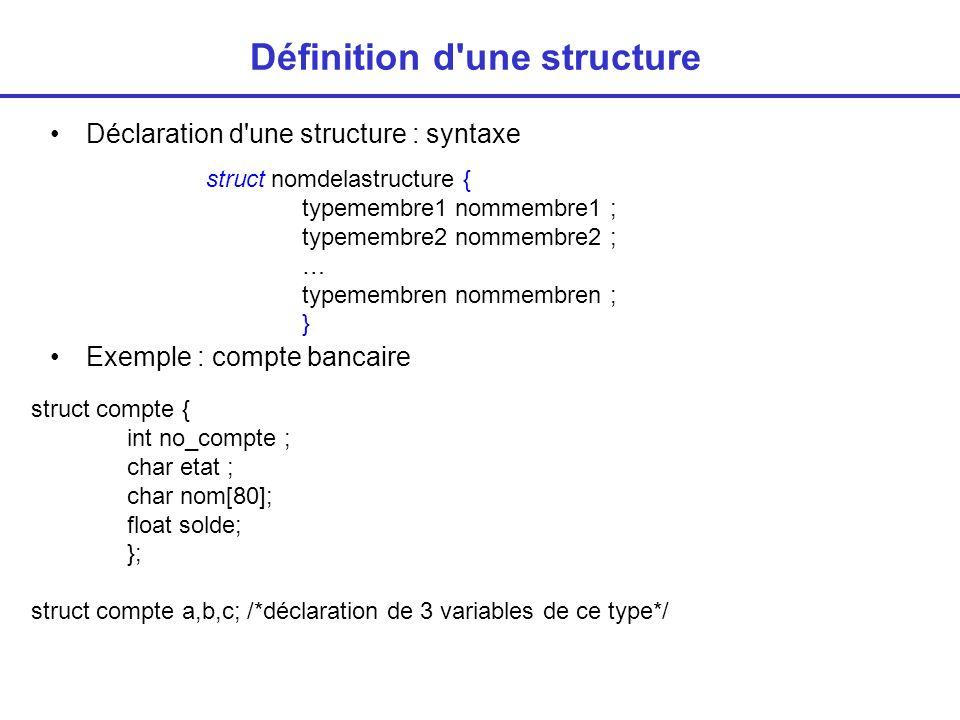 Définition d une structure