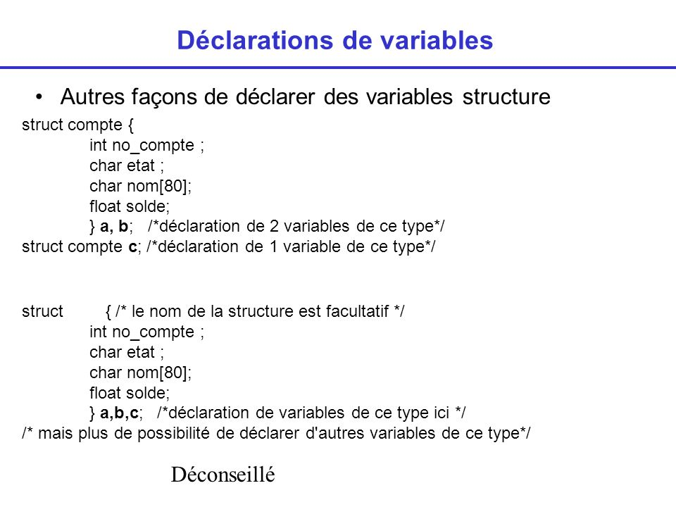 Déclarations de variables