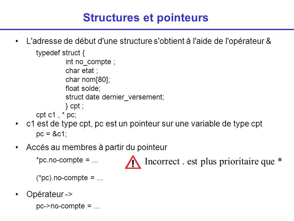 Structures et pointeurs