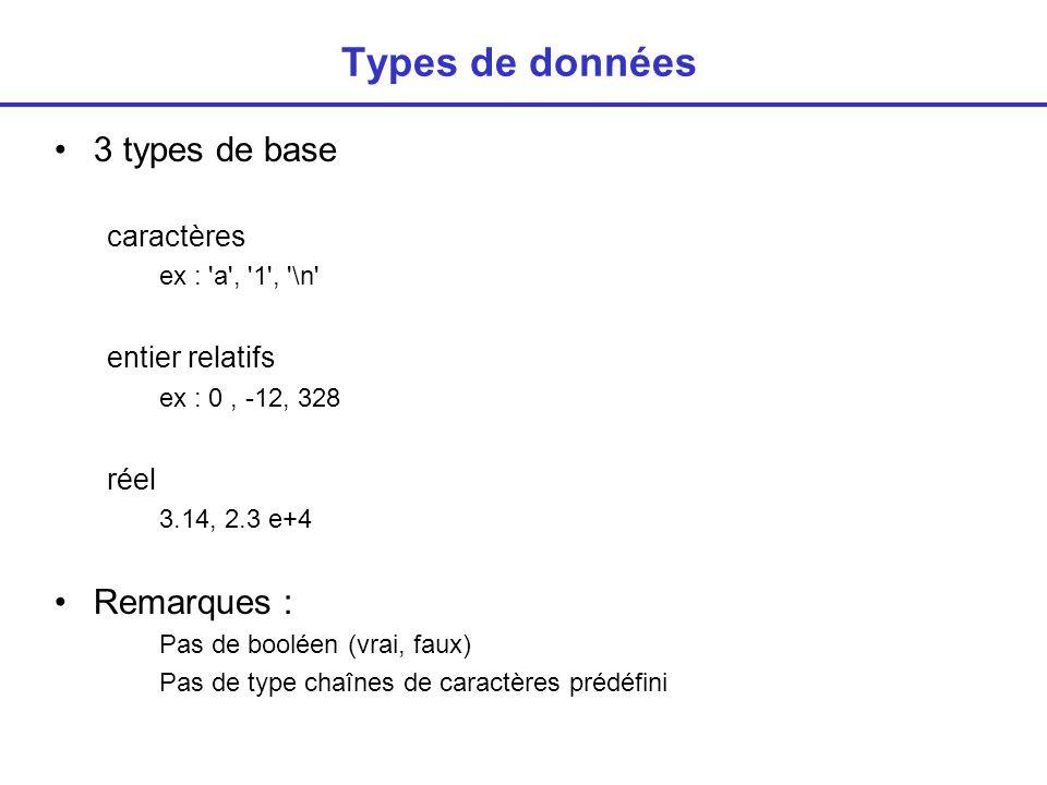 Types de données 3 types de base Remarques : caractères