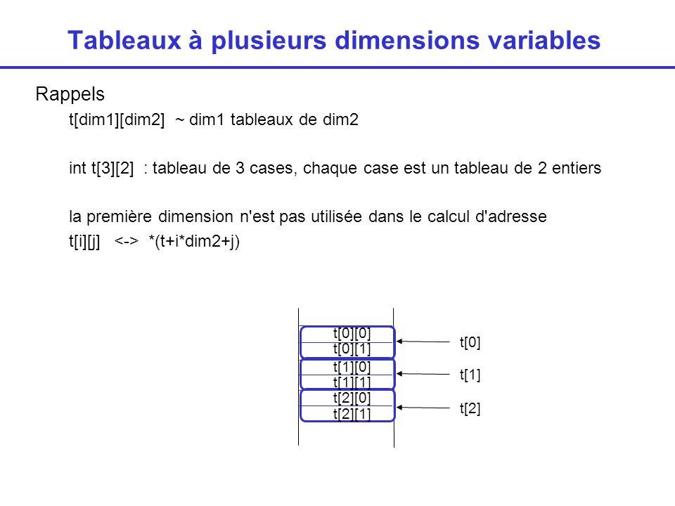 Tableaux à plusieurs dimensions variables