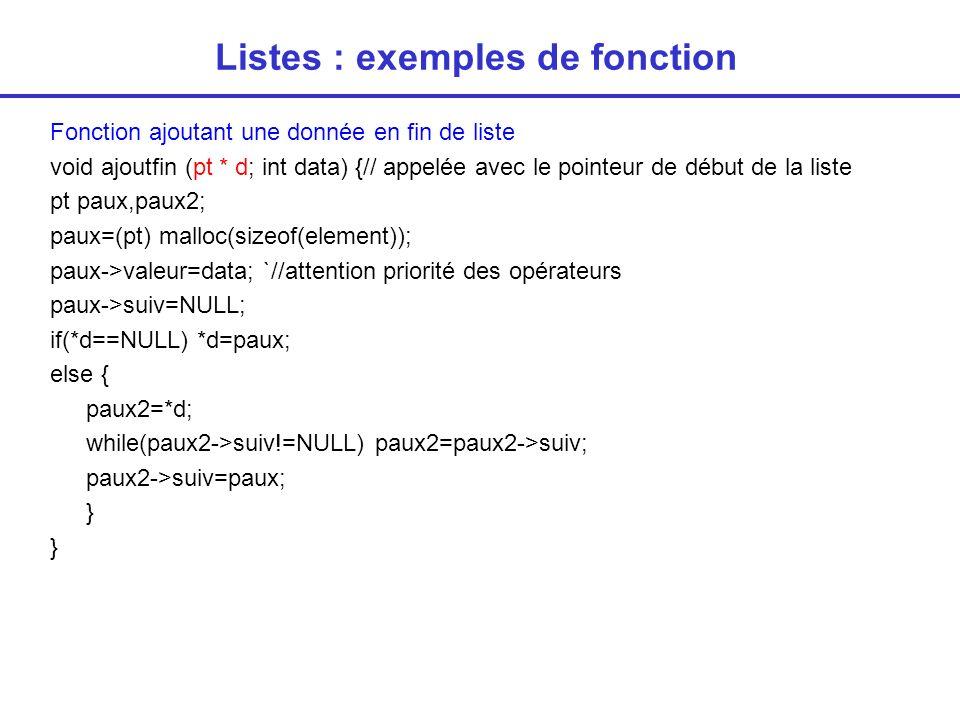 Listes : exemples de fonction