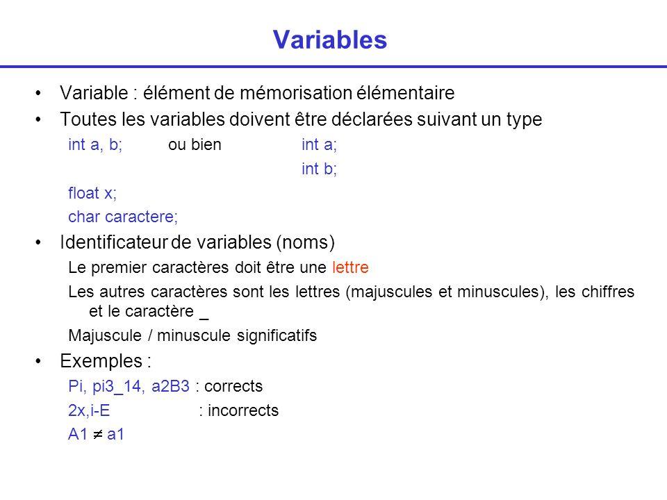 Variables Variable : élément de mémorisation élémentaire