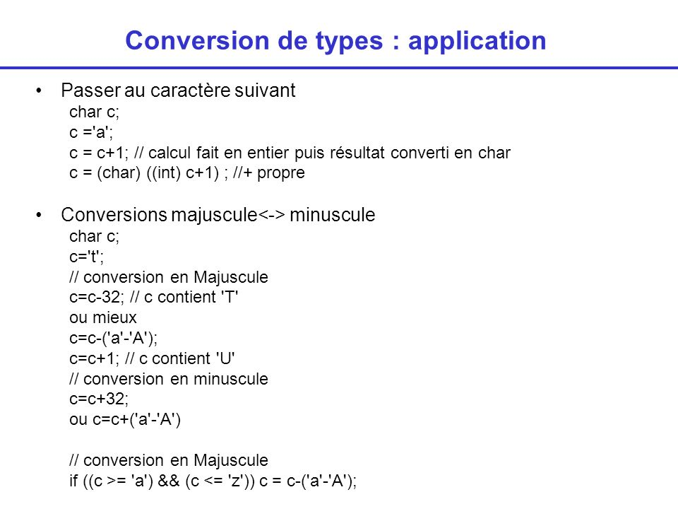 Conversion de types : application