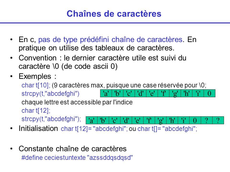 Chaînes de caractères En c, pas de type prédéfini chaîne de caractères. En pratique on utilise des tableaux de caractères.