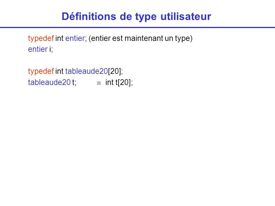 Définitions de type utilisateur