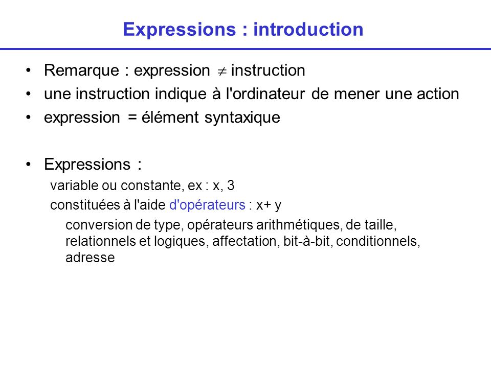 Expressions : introduction