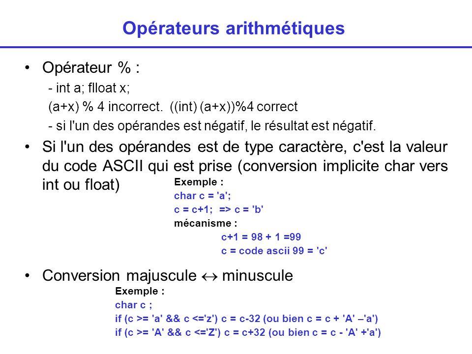 Opérateurs arithmétiques