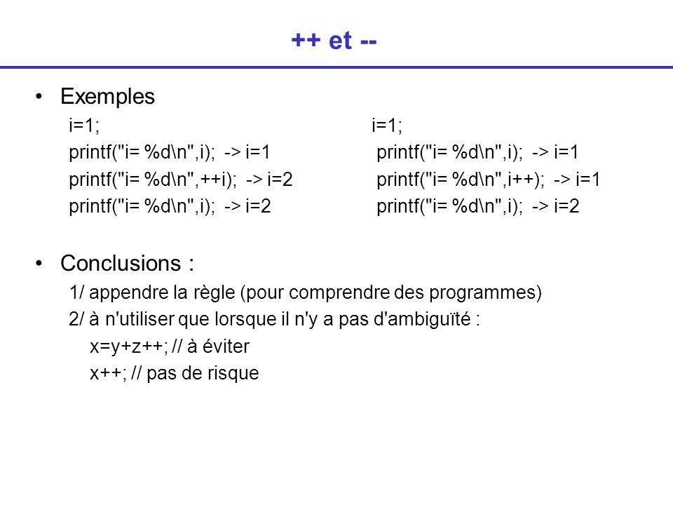 ++ et -- Exemples Conclusions : i=1; i=1;