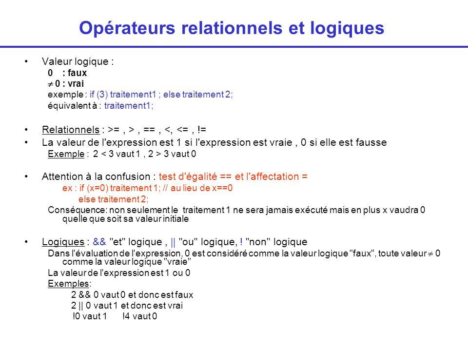 Opérateurs relationnels et logiques
