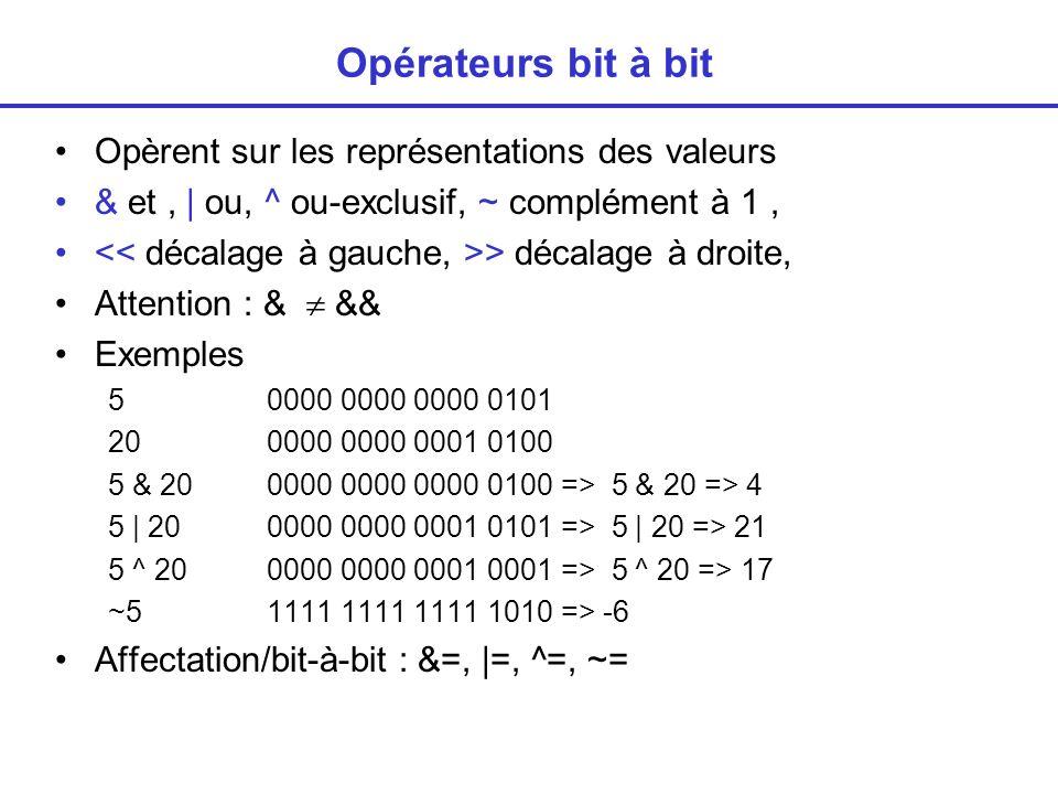 Opérateurs bit à bit Opèrent sur les représentations des valeurs
