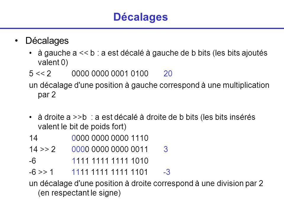 Décalages Décalages. à gauche a << b : a est décalé à gauche de b bits (les bits ajoutés valent 0)